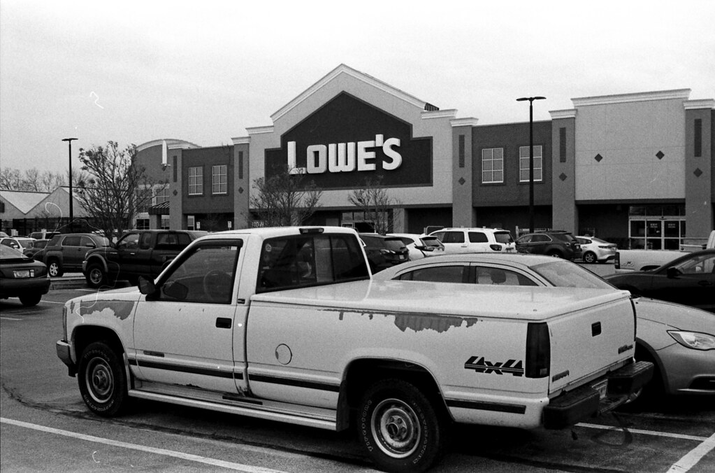 Old Chevy truck in front of Lowe's