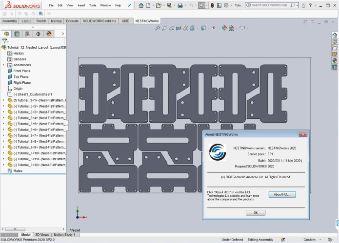 Working with Geometric NestingWorks 2020 SP1 for SolidWorks 2020 full
