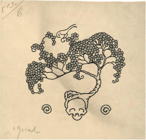 Castelao Caveira con ramas 1921 Tinta negra sobre papel 10 x 10,3 cm Fundación Vicente Risco