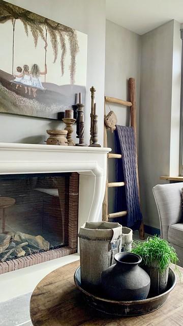 Landelijke schouw houten ladder kandelaars