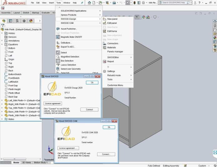 Working with EFICAD SWOOD 2020 SP0.1 for SolidWorks 2010-2020 full