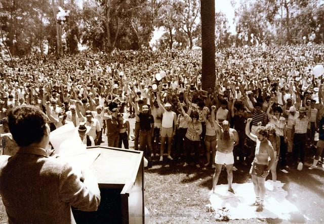 San Diego Pride Festival at Balboa Park, 1983-Nicole Murray Ramirez at podium