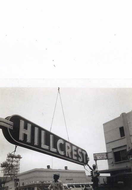 Hanging of re-built HILLCREST sign(re-lit August 16, 1984)