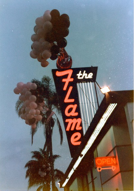 The Flame marquee, Park Blvd San Diego, c.1989