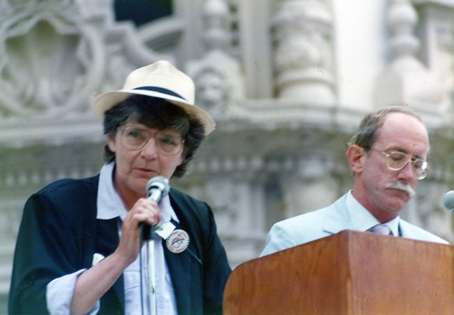Jeri Dilno(left) and Jess Jessop at San Diego Gay Pride Rally, 1989
