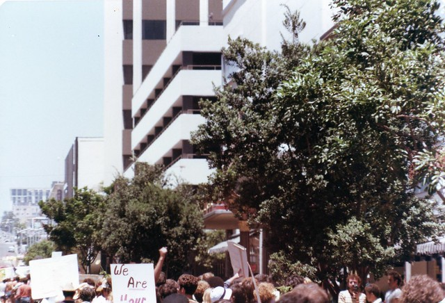 San Diego Gay Pride Day Parade going up 5th Avenue, 1977