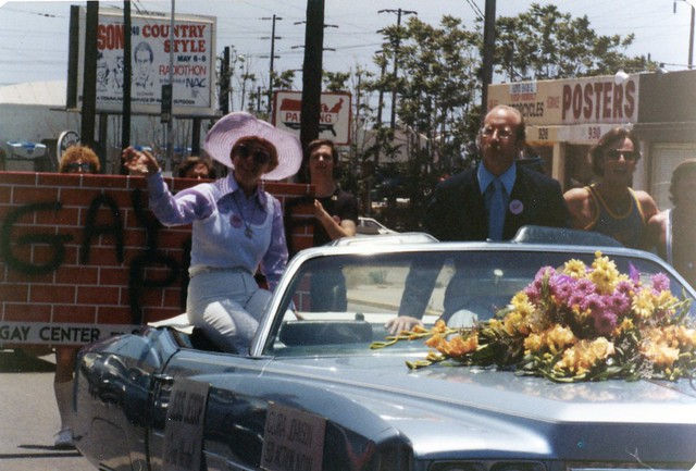 Gloria Johnson and Jess Jessop as co Grand Marshalls of San Diego Gay Pride Day Parade, 1977