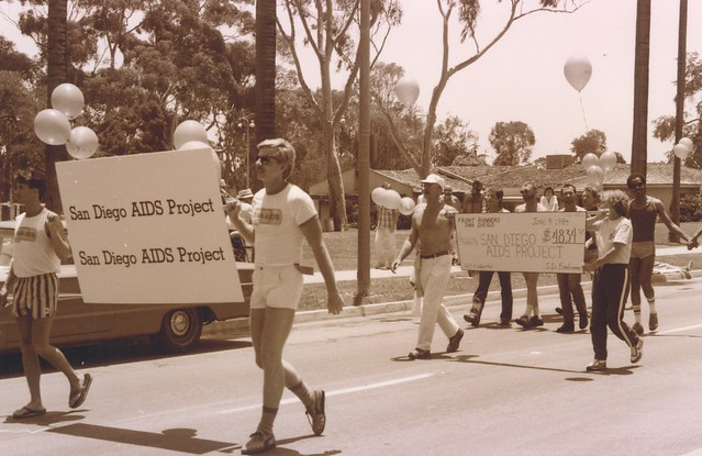 San Diego AIDS Project Marchers at San Diego Gay Pride parade, 1984