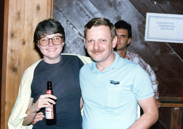 Christine Kehoe of Gayzette(left) and Pat Burke of UpDate, 1984