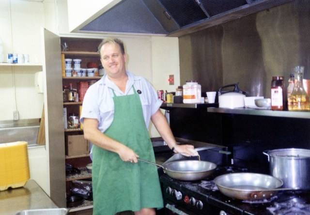 Volunteer prepping in Mama's Kitchen, 1991