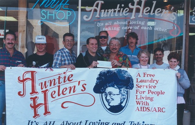 Auntie Helen's Banner, Gary Cheatham (in glasses receiving check), c.1992