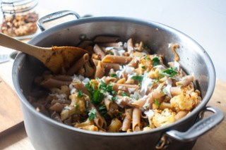 pasta with cauliflower, walnuts, and feta