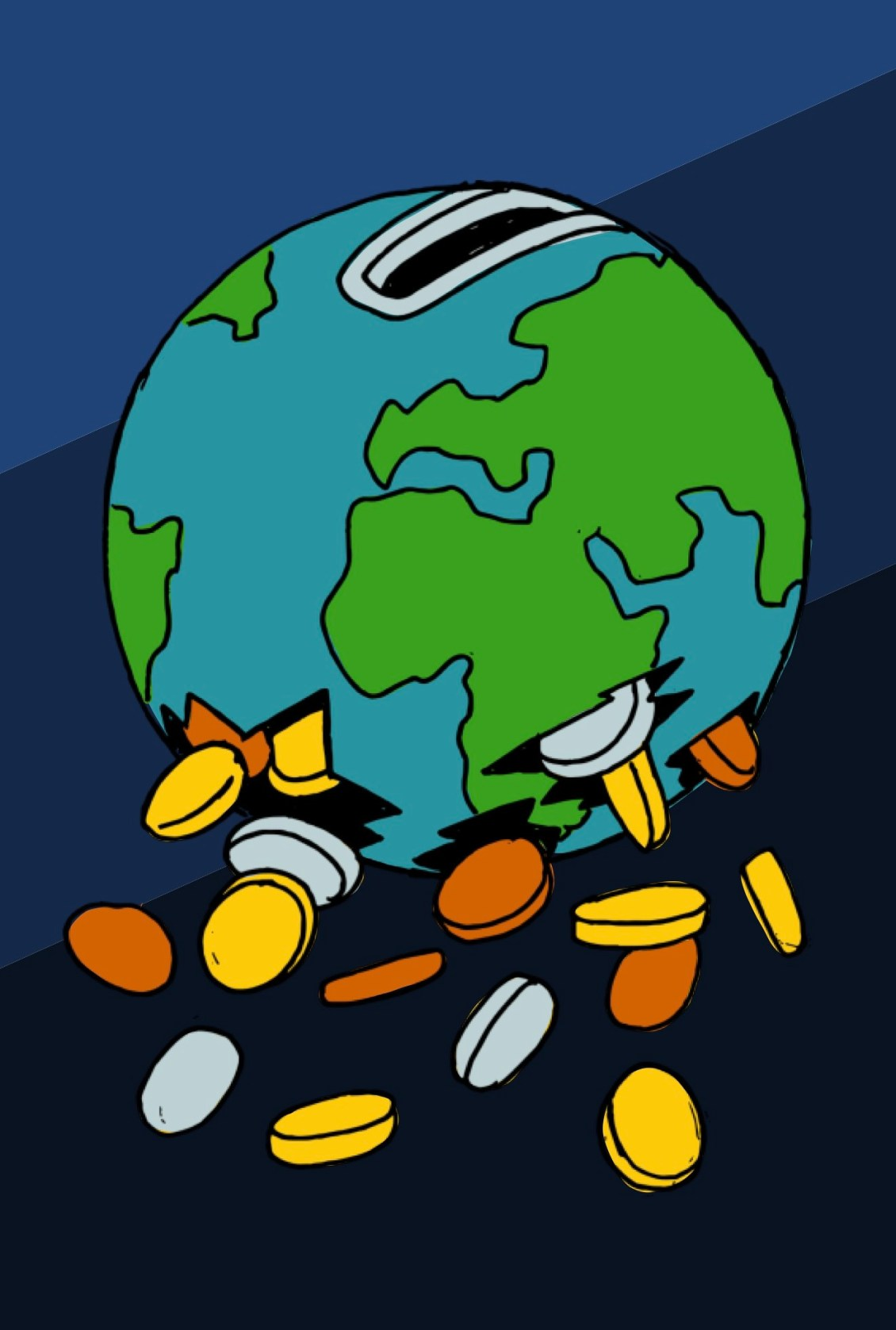 Global recession article Illustration