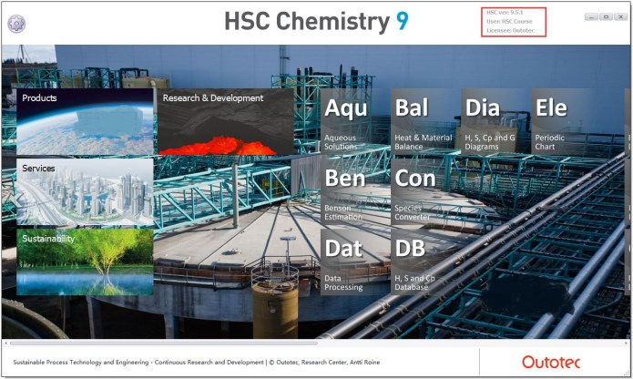 Working with Outotec HSC Chemistry 9.5.1.5 full license