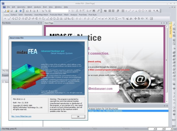 Working with midas FEA 2016 v1.1 full license
