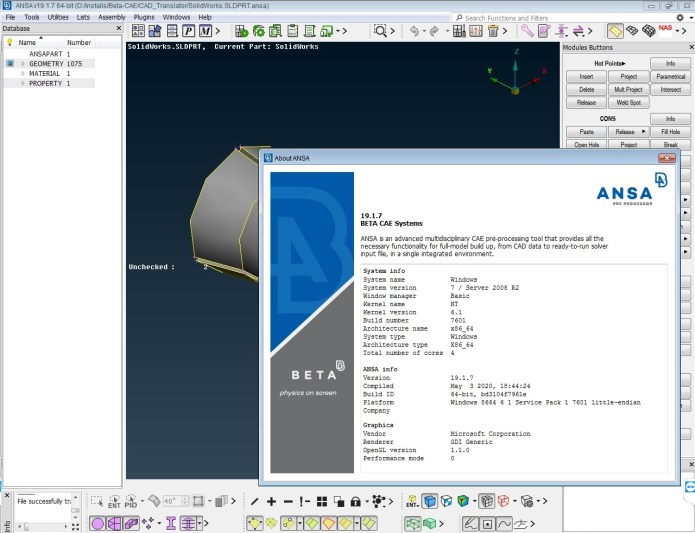 Working with BETA-CAE Systems v19.1.7 NASA full license