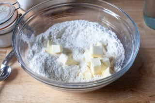butter into flour and salt