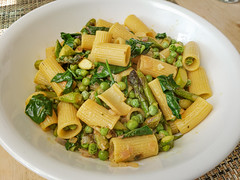 Pasta with Asparagus, Spinach, and Peas