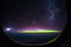 Aurora Australis from a Plane flying over Australia
