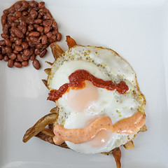 Spicy Eggs, French Fries, and Baked Beans
