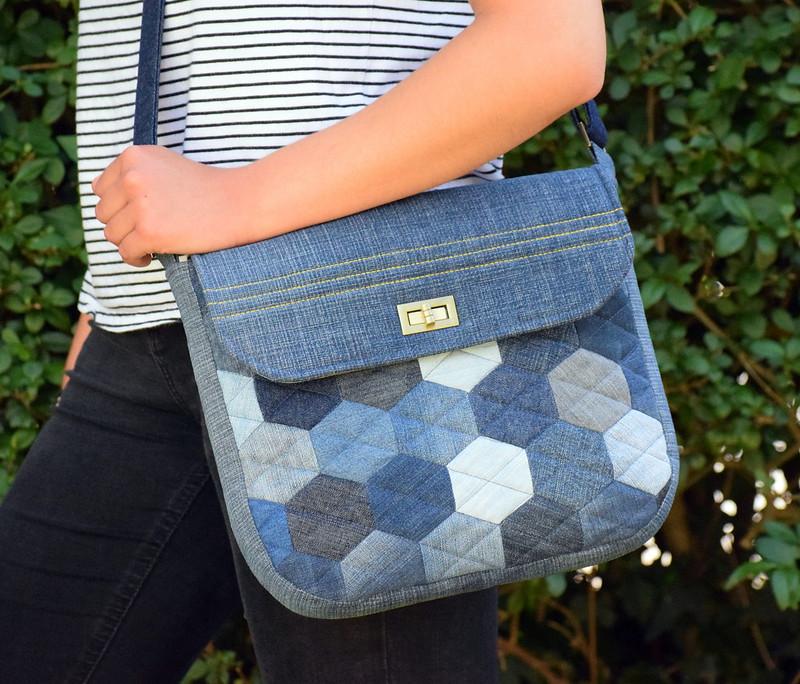 Denim Hexie Messenger Bag