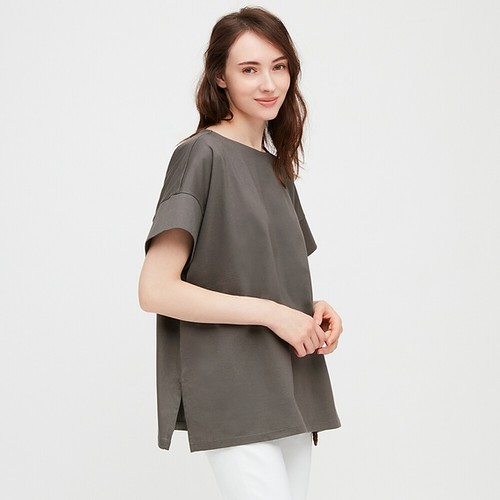 WOMEN MERCERIZED COTTON BOAT NECK SHORT SLEEVE T (07 Gray)