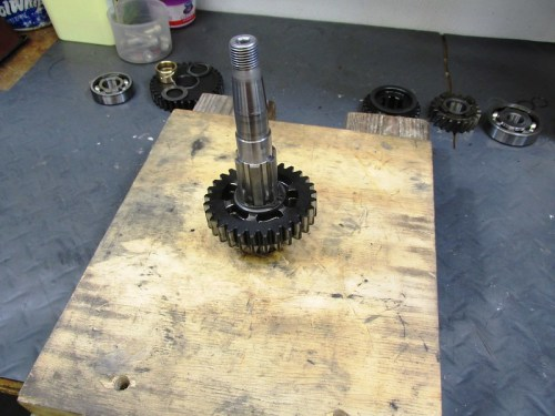 Output Shaft 2nd Gear Installed & In Hole In Board with Spline End Facing Up