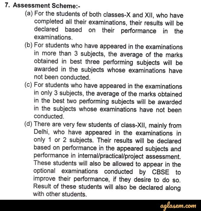 CBSE assessment scheme 2020