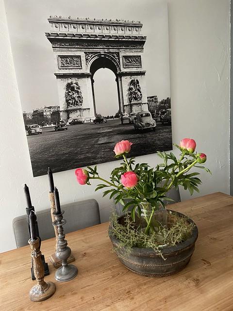 Olijfbak vaas met bloemen poster Parijs