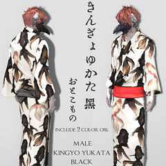 [r-l-f]+*NAMINOKE*Kingyo Yukata for male black