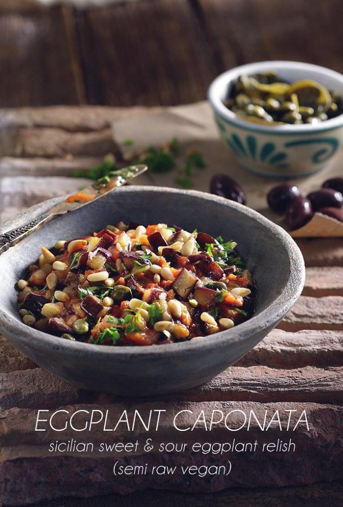 Eggplant Caponata (Semi Raw Vegan)