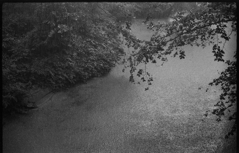 looking down, pouring rain, French Broad River, Asheville, NC, FED 4, Industar 61, Fomapan 200, Moersch Eco film developer, 7.1.20