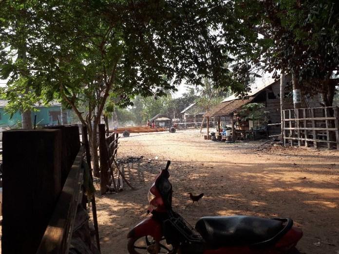 在畫面後方,可以看到一台卡車從普雷朗野生物保護區或周邊運出木材。圖片來源:普雷朗社群網絡(Prey Lang Community Network)