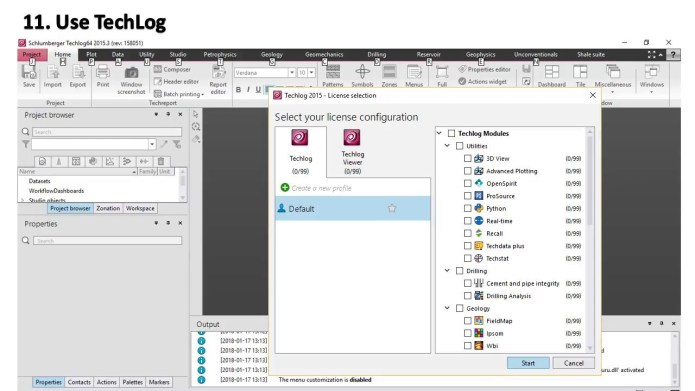 Working with Schlumberger Techlog 2015.3 full license