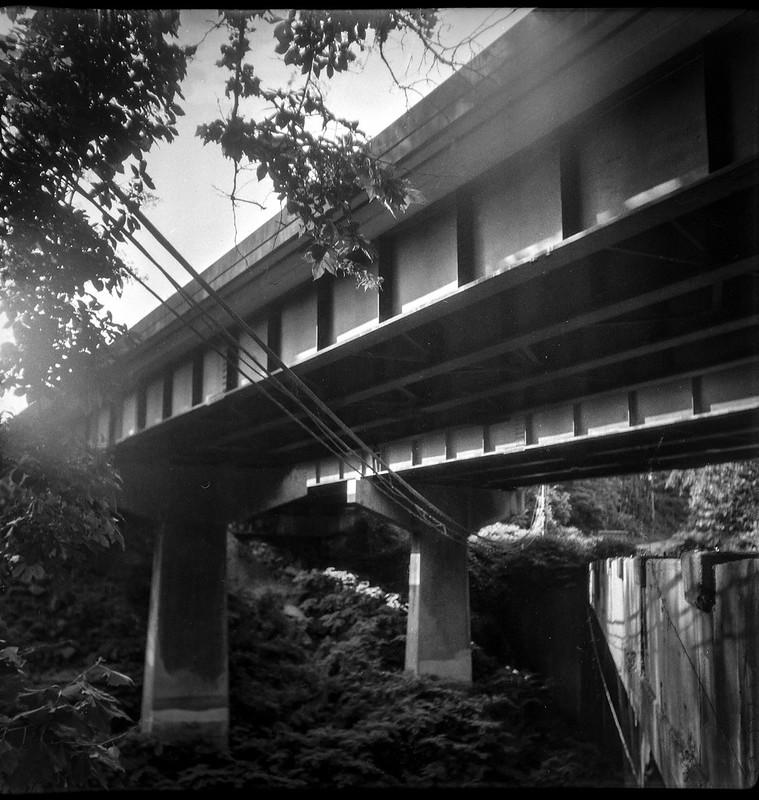 looking up, into the sun, interstate overpass, Asheville, NC, Flektar twin lens reflex, Fomapan 200, Moersch Eco film developer, 7.9.20