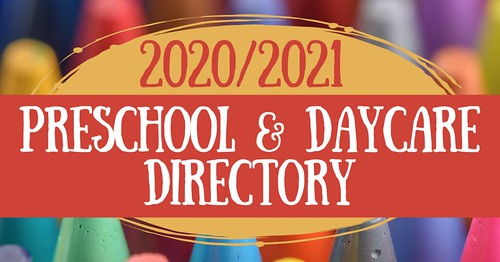 "Graphic with the words ""Preschool & Daycare Directory."""