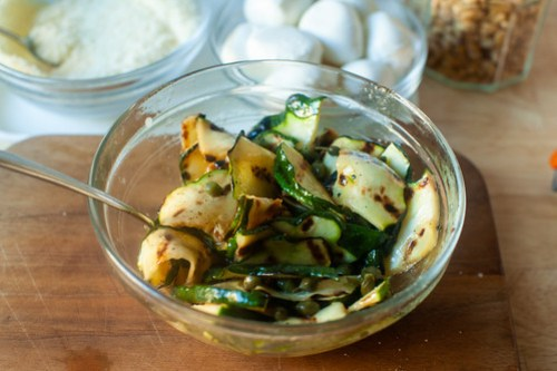 grilled and marinated summer squash