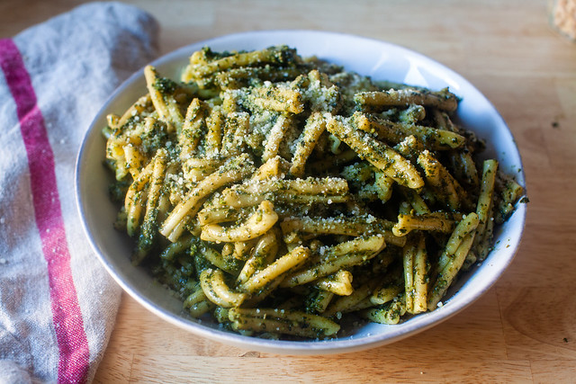 pasta with pesto genovese (basil pesto)