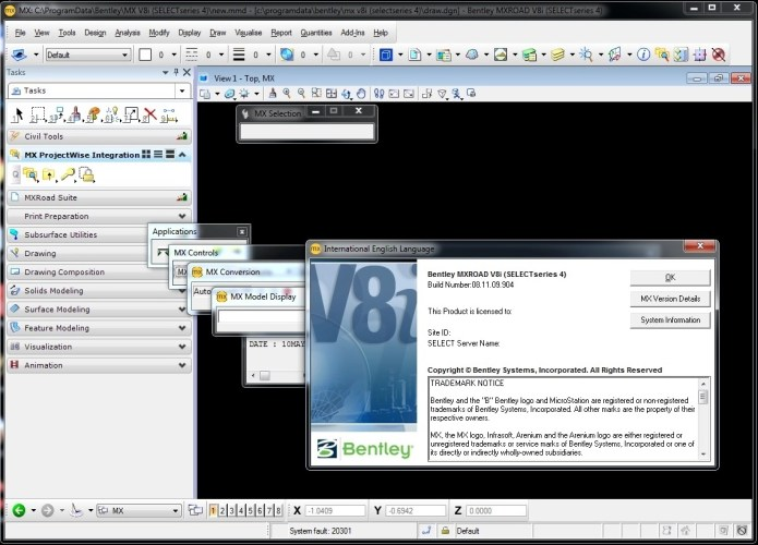Working with Bentley MXROAD V8i (SELECTSeries 4) 08.11.09.904 full
