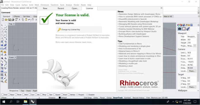 Working with Rhinoceros 6.28.20199.17141 full license forever