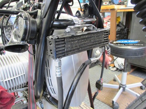 Oil Cooler Installed On Frame Tube