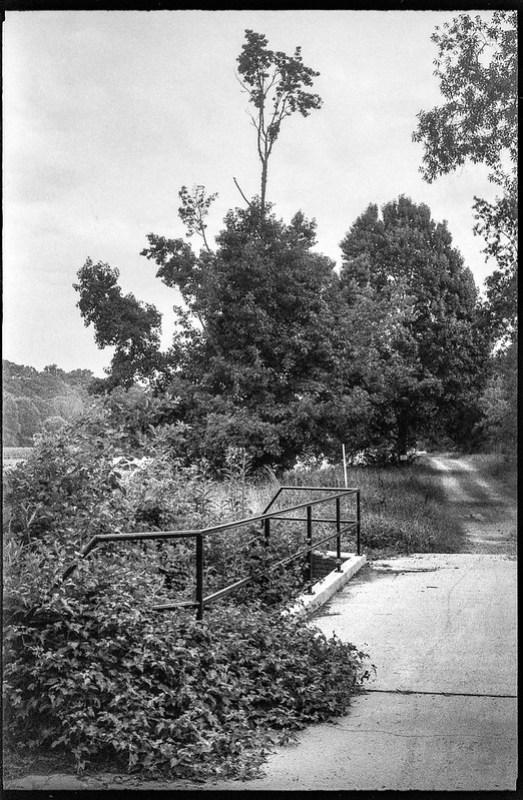 paved bridge, railing, dirt roadway, distant tree forms, Asheville, NC, Kodak Retina IIIc, Arista.EDU 200, Moersch Eco film developer, 7.28.20