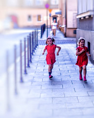 Two Girls in red