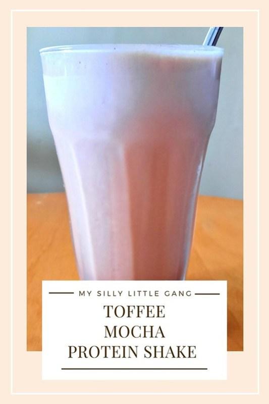 Toffee Mocha Protein Shake Recipe @tworiversco #MySillyLittleGang