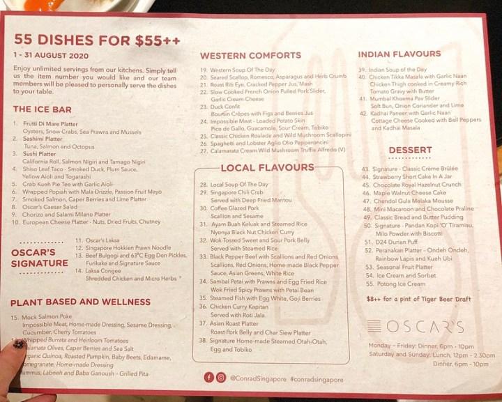 Menu: 55 Dishes Buffet at Conrad Centennial Singapore