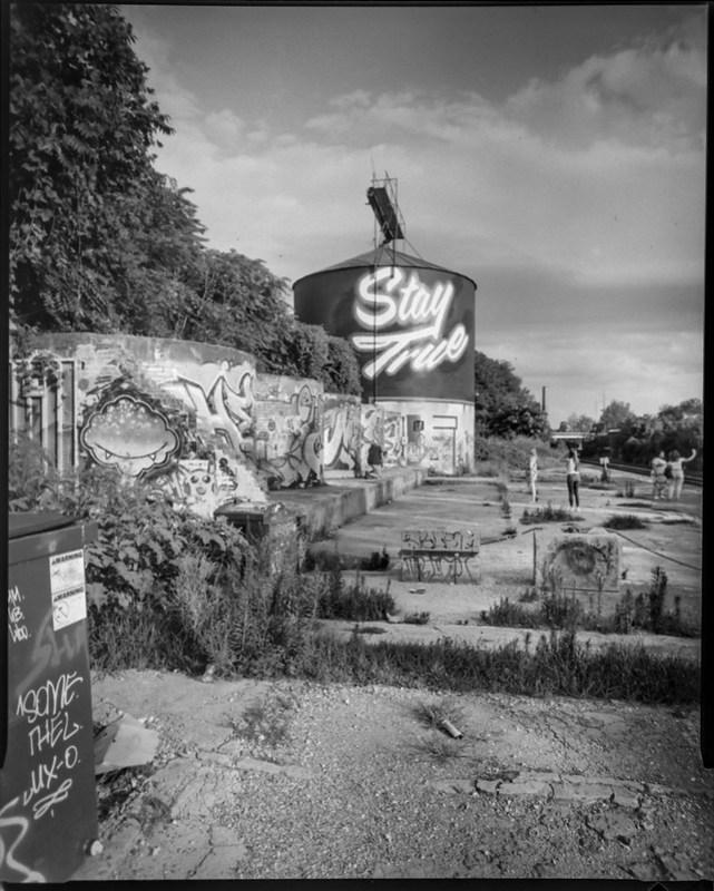 silos, graffiti, dumpster, railroad tracks, Asheville, NC, Wanderlust Travelwide 4x5 camera, Schneider-Kreuznach Angulon 90mm f-6.8, Bergger Pancro 400, HC-110, 8.8.20