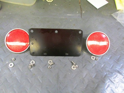 License Plate Bracket, Side Reflectors And Mounting Hardware