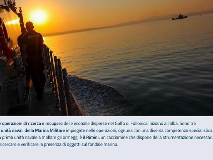 Emergenza ecoballe Golfo di Follonica: le operazioni di ricerca e recupero