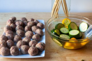 tiny meatballs, marinated zucchini