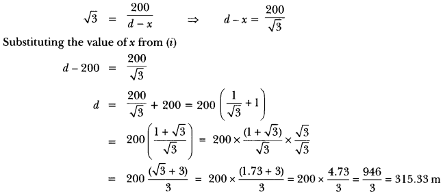 Some Applications of Trigonometry Class 10 Extra Questions Maths Chapter 9 with Solutions Answers 22